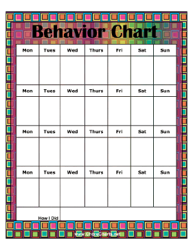 monthly behavior chart teachers or parents can use this colorful chart ...